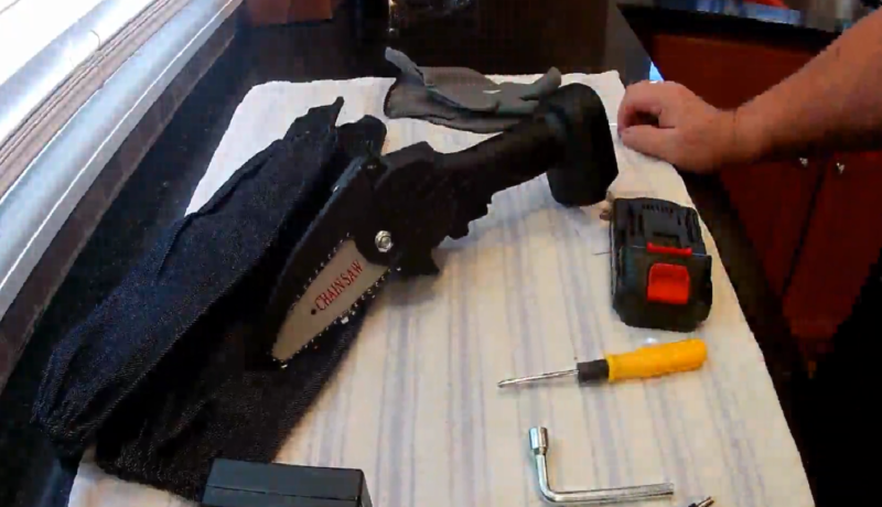 setting up a portable chainsaw